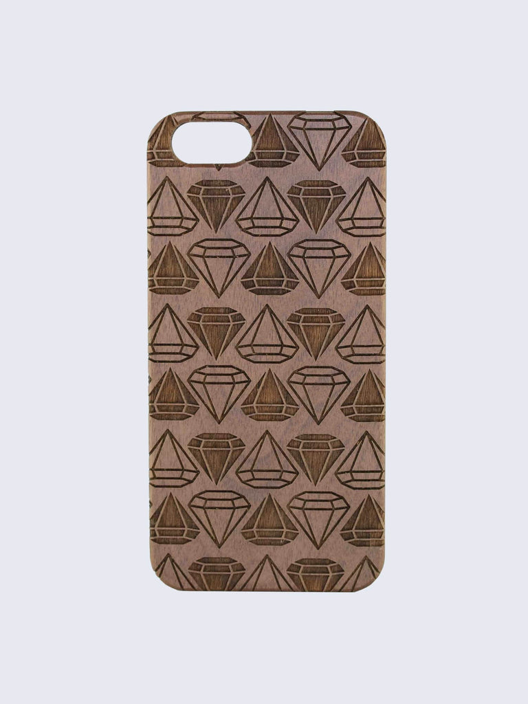 Diamonds Pattern Laser Engraved Wooden iPhone Case