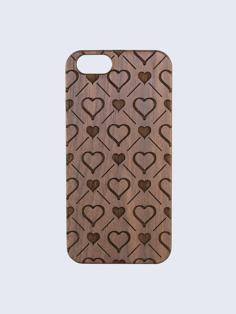 Hearts Pattern Laser Engraved Wooden iPhone Case
