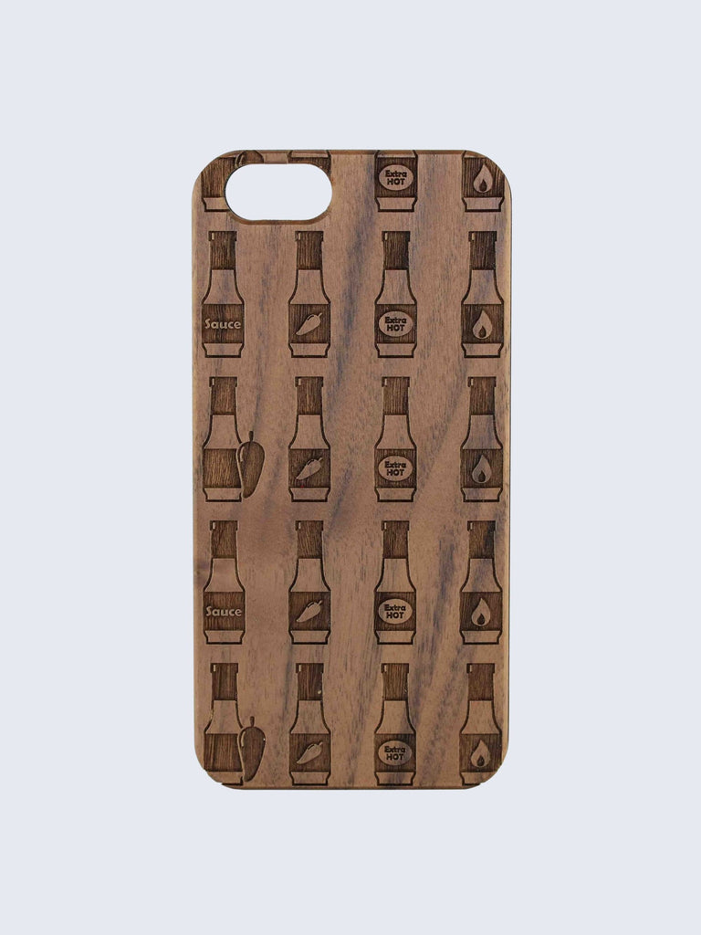 Hot Sauce Pattern Laser Engraved Wooden iPhone Case