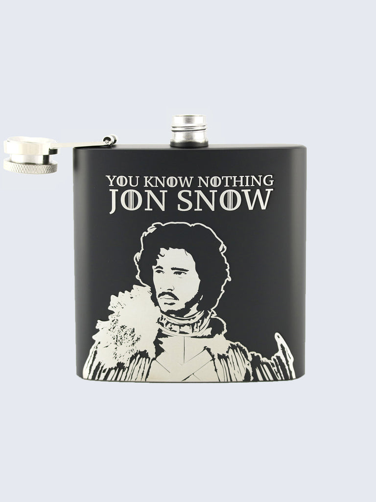 Jon Snow Game Of Thrones Laser Engraved Black Stainless Steel 6oz Hip Flask