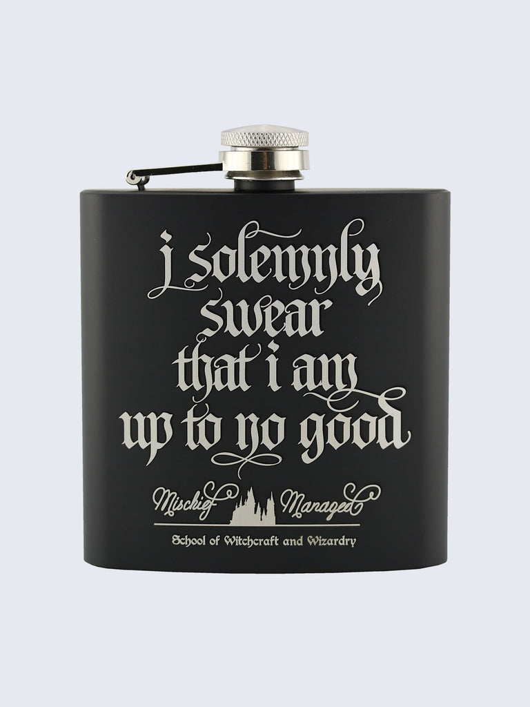 Marauders Map Style Harry Potter Inspired Design Laser Engraved Black Stainless Steel 6oz Hip Flask