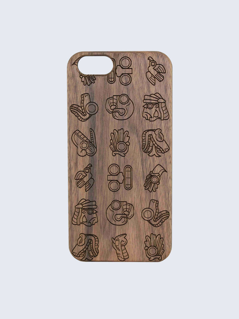 Mayan Aztec Pattern Laser Engraved Wooden iPhone Case