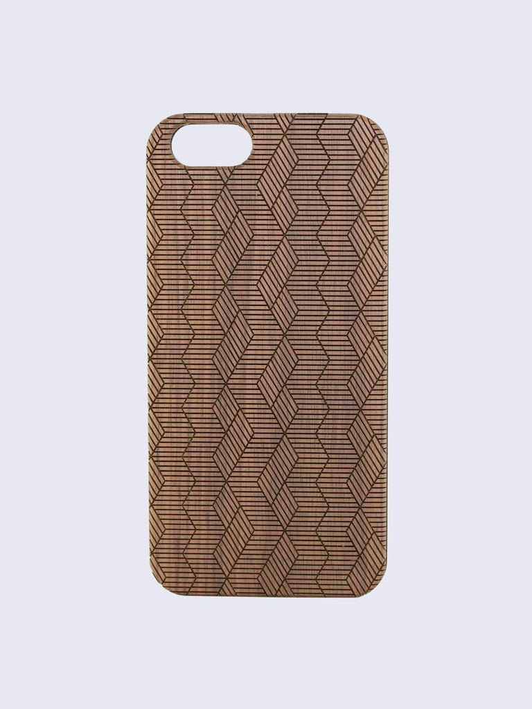 Maze Pattern Laser Engraved Wooden iPhone Case