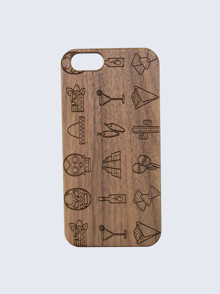 Mexico Pattern Laser Engraved Wooden iPhone Case