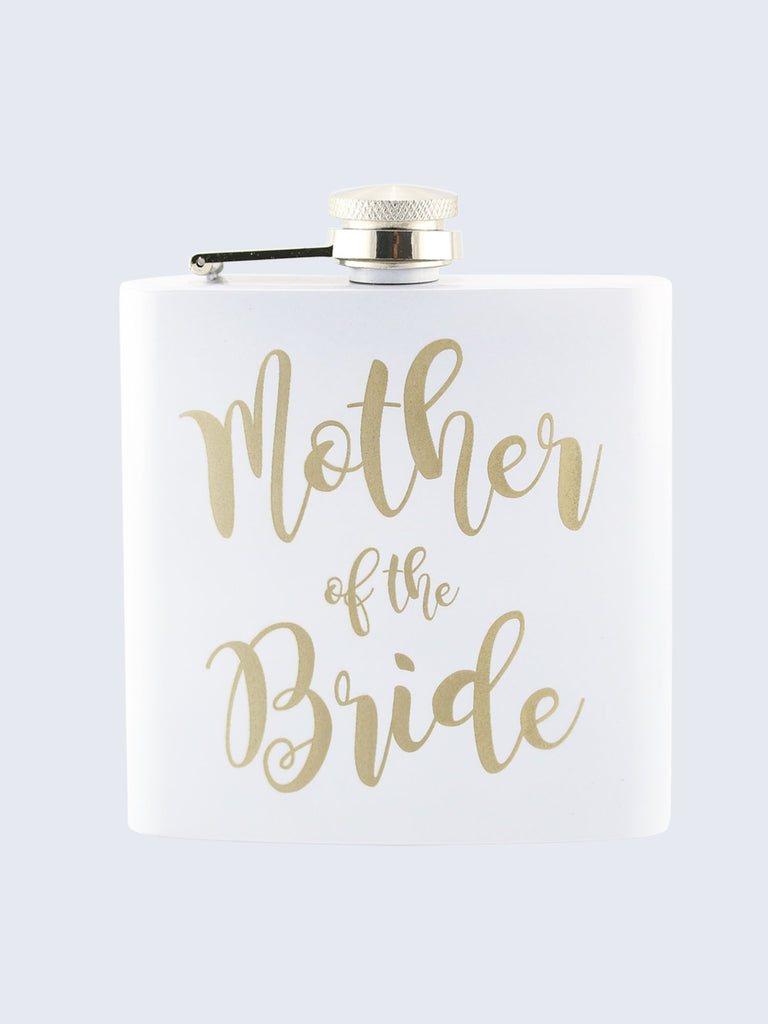Mother Of The Bride Wedding Laser Engraved Black Stainless Steel 6oz Hip Flask