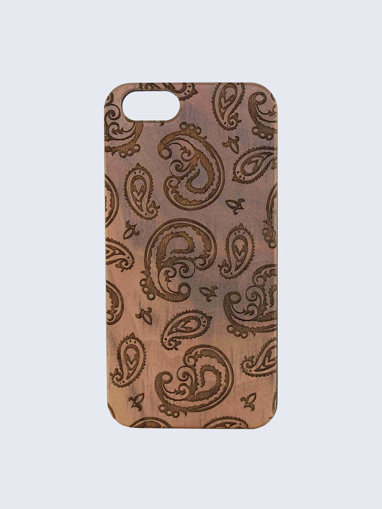 Paisley Pattern Laser Engraved Wooden iPhone Case