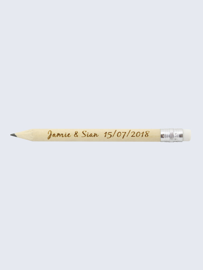 Personalised Wedding Birthday Save The Date Pencils Natural Wood 10cm Length