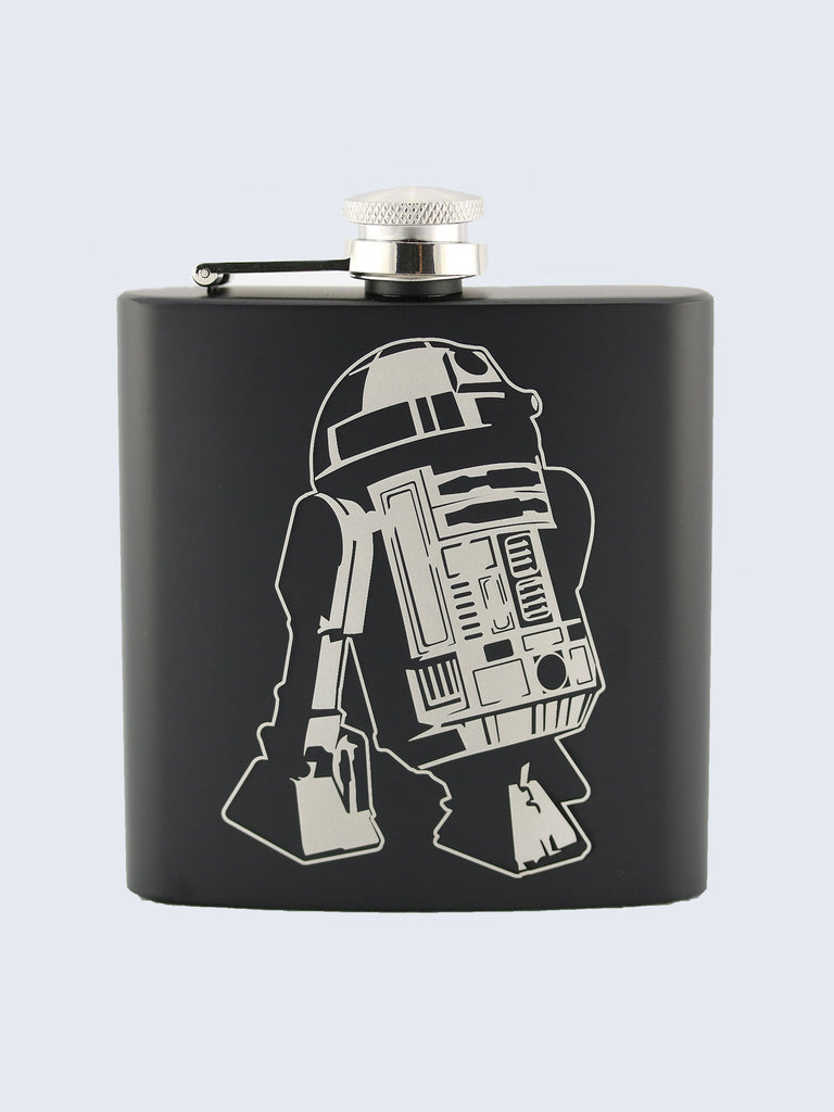 R2-D2 Star Wars Inspired Design Laser Engraved Black Stainless Steel 6oz Hip Flask