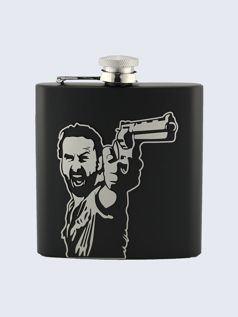 Rick Grimes The Walking Dead Inspired Design Laser Engraved Black Stainless Steel 6oz Hip Flask