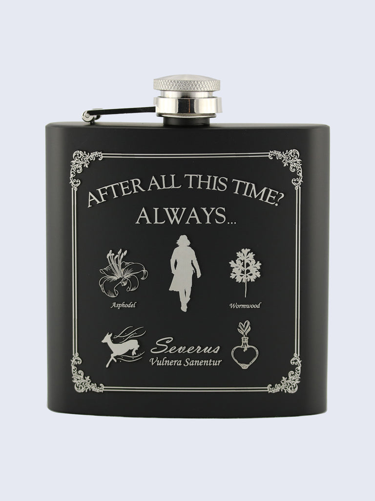 Severus Snape Harry Potter Laser Engraved Black Stainless Steel 6oz Hip Flask