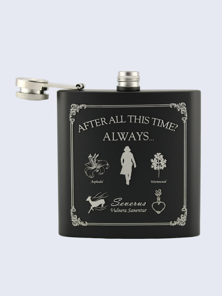Severus Snape Potions Harry Potter Laser Engraved Black Stainless Steel 6oz Hip Flask