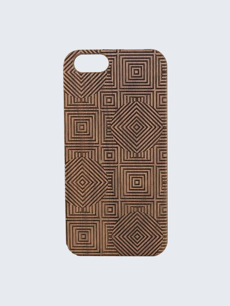 Squares Circles Pattern Laser Engraved Wooden iPhone Case