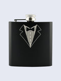 Stag Do Best Man Wedding Laser Engraved Black Stainless Steel 6oz Hip Flask
