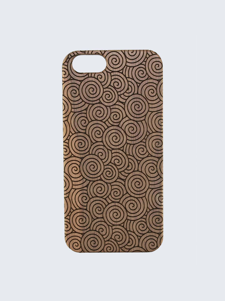 Swirls Pattern Laser Engraved Wooden iPhone Case