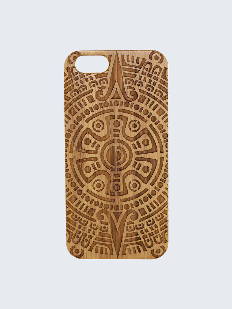 Tribal Pattern Laser Engraved Wooden iPhone Case