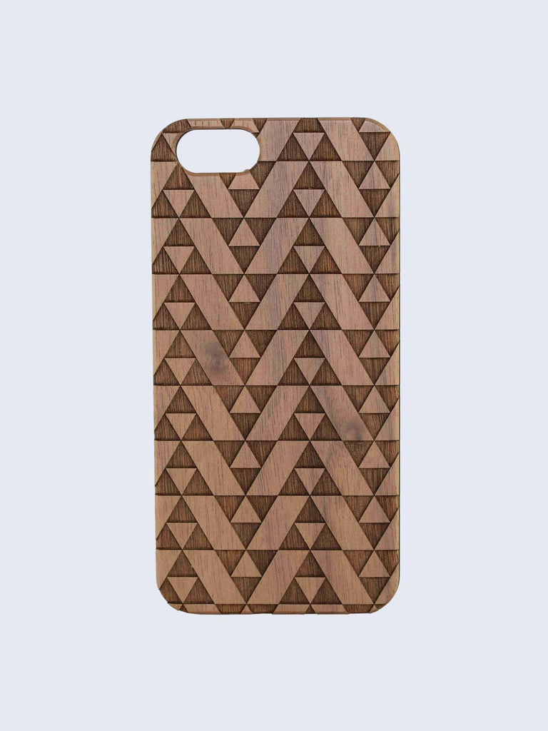 Triangles Triforce Pattern Laser Engraved Wooden iPhone Case