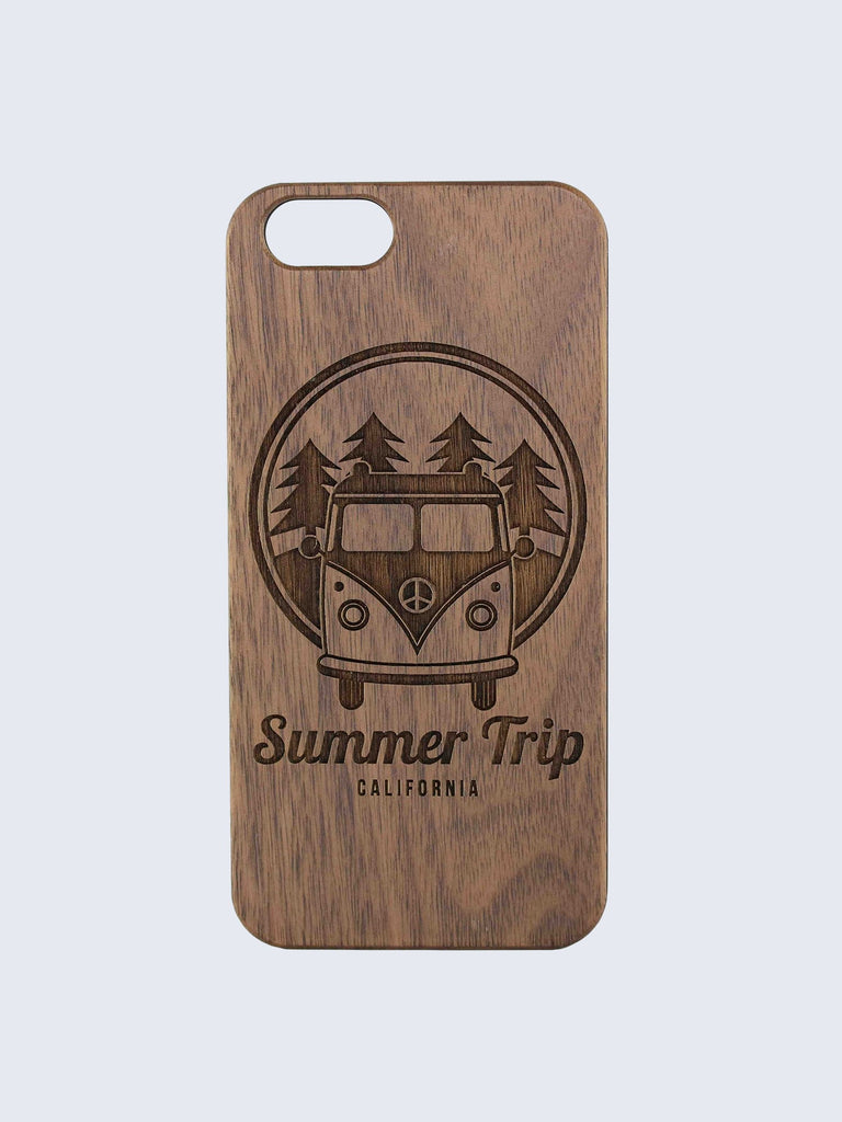 VW Camper Van Style Laser Engraved Wooden iPhone Case