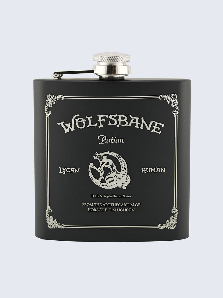 Wolfsbane Potion Harry Potter Inspired Design Laser Engraved Black Stainless Steel 6oz Hip Flask