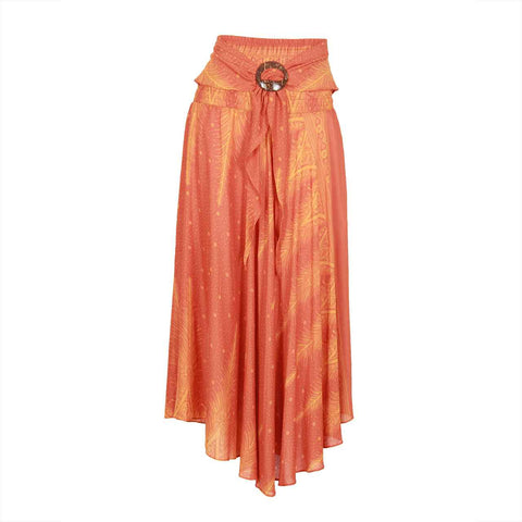 Bohemian Floral Maxi Skirt Orange Feather 1