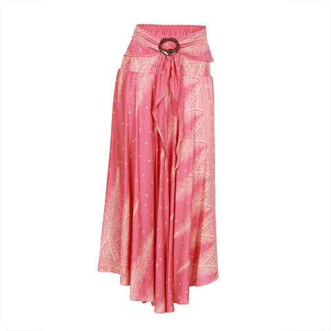 Bohemian Floral Maxi Skirt Pink Feather 1