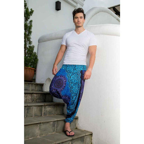 Extra Low Cut Harem Pants Blue Mandala 1