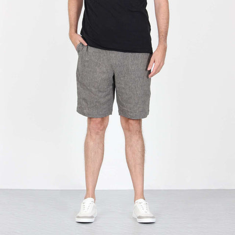 Grey Linen Shorts Front