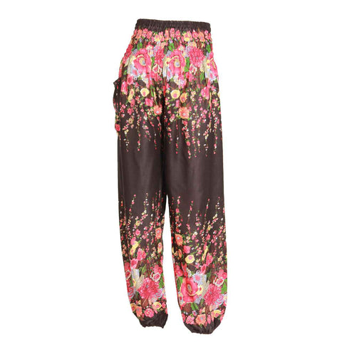 Harem Pants High Cut in Black Floral Print 1