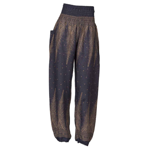 Harem Pants High Cut Dark Blue Brown Peacock 1