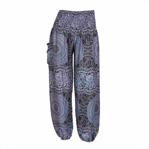 Harem Pants High Cut Dark Blue Grey Mandala Print 1