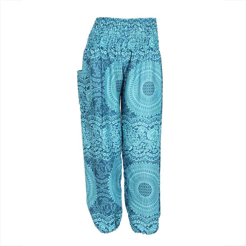 Harem Pants High Cut in Aqua Mandala Print 1
