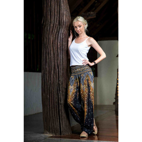 Harem Pants High Cut in Black Brown Silver Peacock Print 1