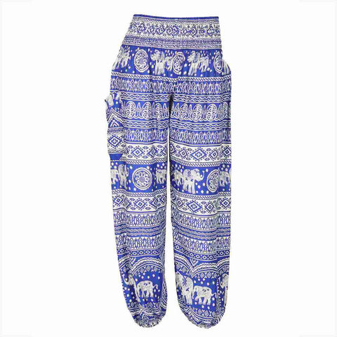 Harem Pants High Cut in Blue White Elephant and Floral Print 1