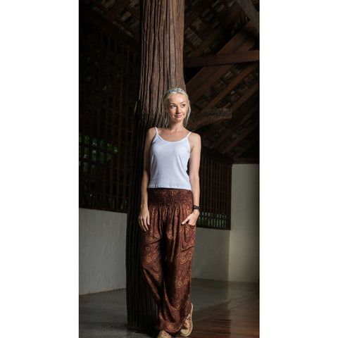 Harem Pants High Cut in Brown Mandala Print 1
