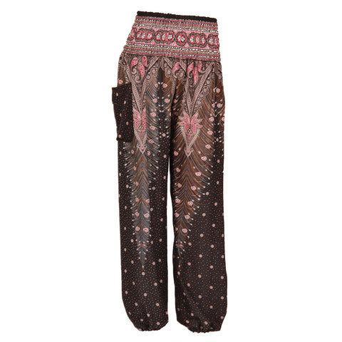 Harem Pants High Cut in Brown Red White Peacock Print 1