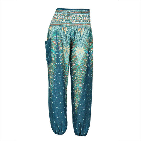 Harem Pants High Cut in Green Blue Orange Peacock Print 1