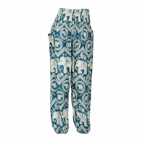 Harem Pants High Cut in Green White Elephant Print 1