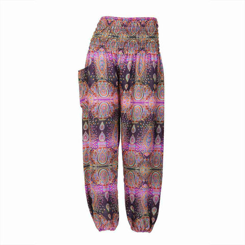 Harem Pants High Cut in Purple Black Candlelight Print 1