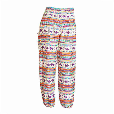 Harem Pants High Cut in Purple Elephant Tribal Print 1