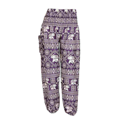 Harem Pants High Cut in Purple White Little Elephant Print 1