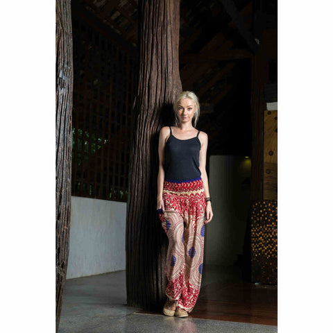 Harem Pants High Cut in Red Pink Dark Blue Mandala Print 1