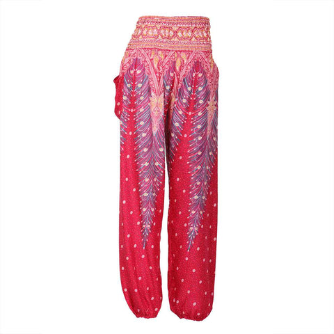 Harem Pants High Cut in Red Pink Peacock Print 1