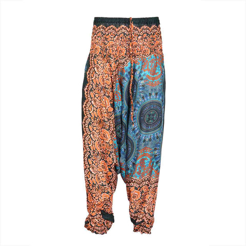 Harem Pants Low Cut Blue Brown Mandala 1