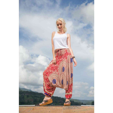 Harem Pants Low Cut Red Blue Mandala 1