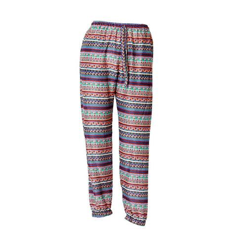 Harem Pants Slim Fit Red Aqua tribal 1