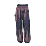 Harem Pants High Cut Dark Blue Light Purple Peacock Print