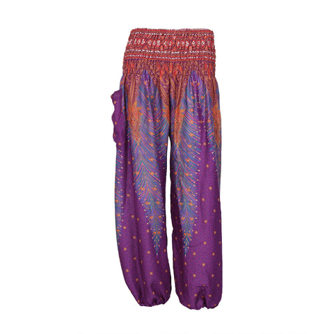 Copy of Harem Pants High Cut in Blue Red White Peacock Print