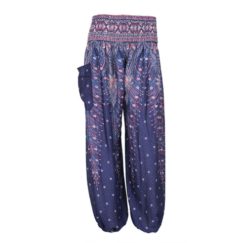 Harem Pants High Cut in Blue Red White Peacock Print