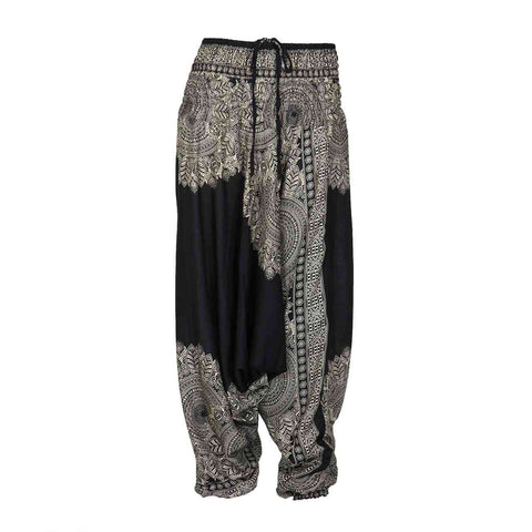 Low Cut Harem Pants Black Floral Mandala 1
