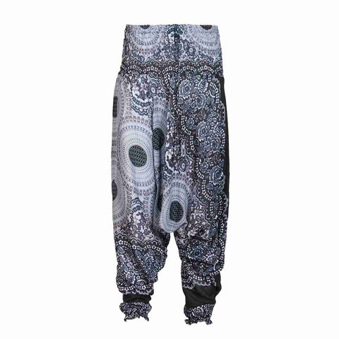 Low Cut Harem Pants Grey Black Mandala 1