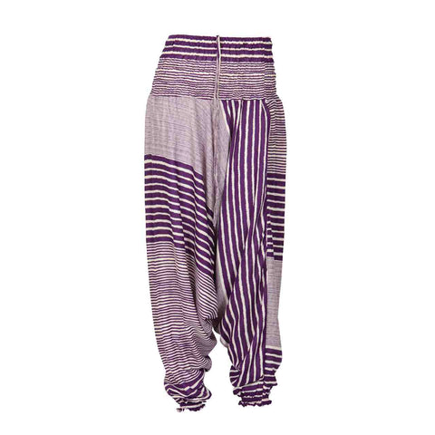 Low Cut Harem Pants Purple Stripes 1